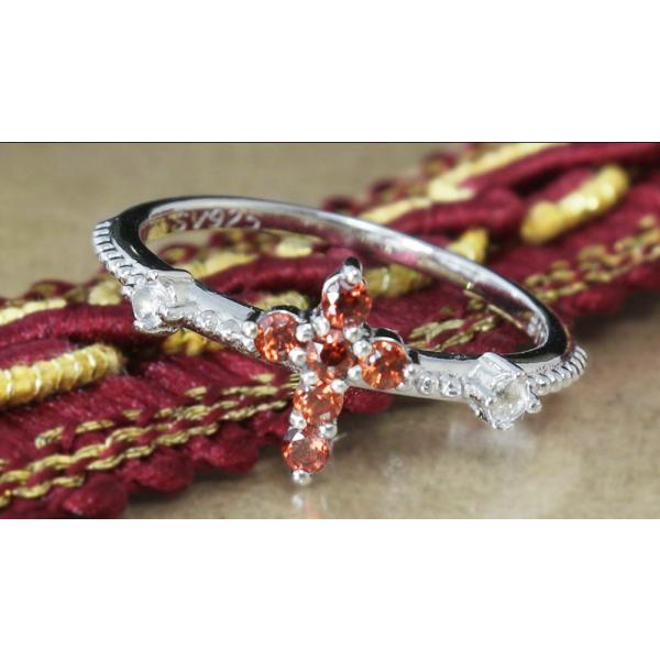 指輪 リング レディース 天然 ガーネット クロス 十字架 1月誕生石 送料無料 鑑別書付
