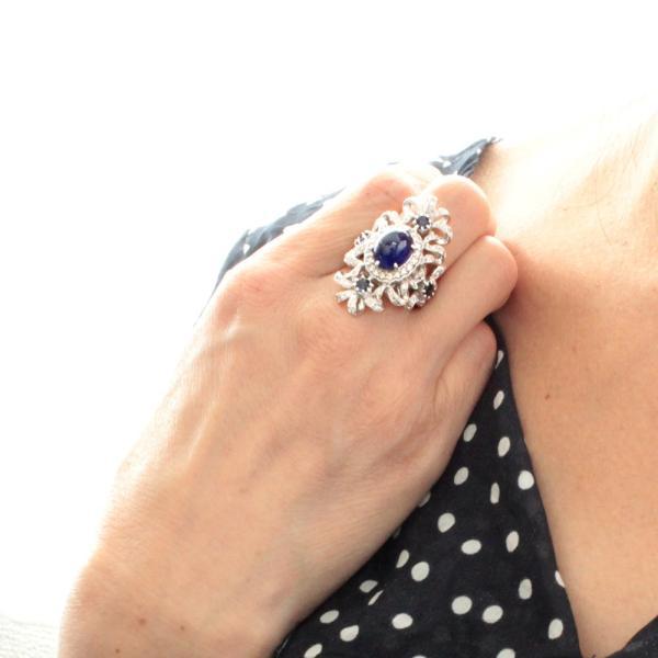 指輪 リング レディース 7.398ct 天然 サファイア ダイヤモンド K18WG 18金 9月誕生石 送料無料 鑑別書付 1点限り