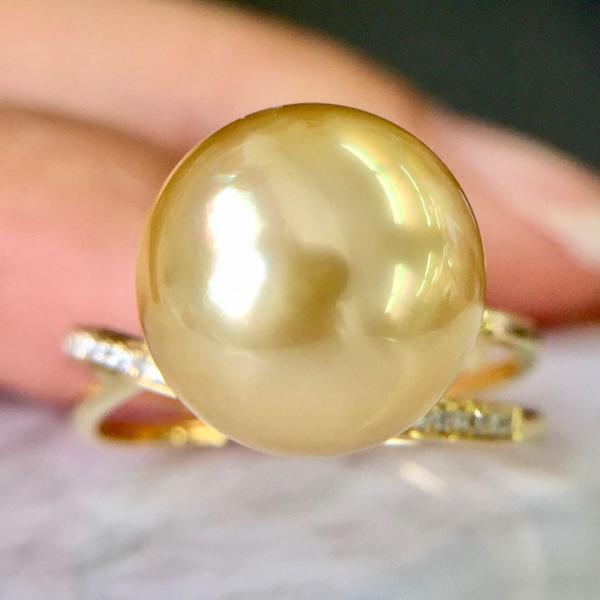 指輪 リング レディース 11mm ゴールデンパール 南洋真珠 ダイヤモンド K18YG 18金 6月誕生石 送料無料 鑑別書付 1点限り