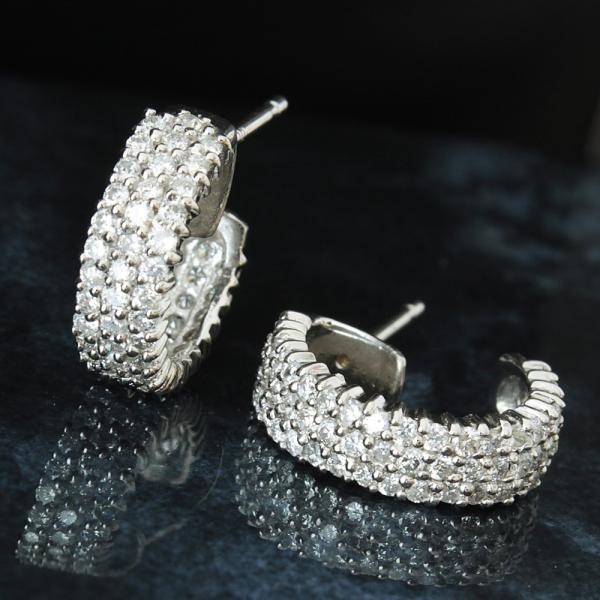 フープピアス ピアス レディース 1ct 1.0ct 天然 ダイヤモンド Pt900 プラチナ 4月誕生石 送料無料 鑑別書付 1点限り