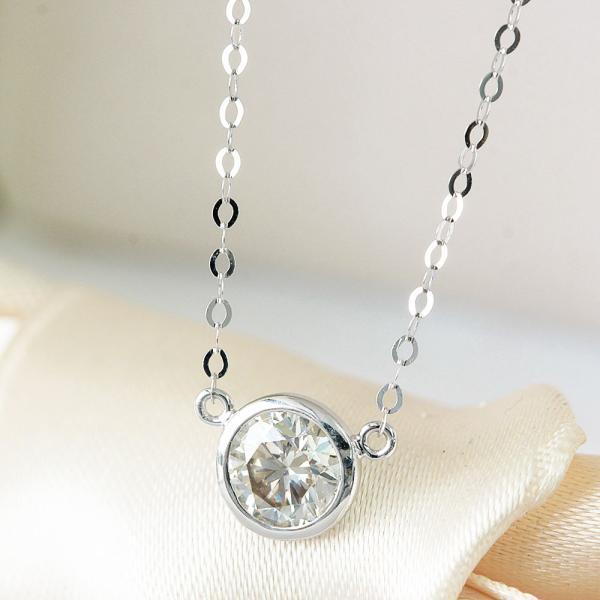 ネックレス レディース【鑑別書付】 0.3ct  ダイヤモンド K18 ホワイトゴールド バイザヤード タイプ ネックレス ペンダント 4月誕生石 18金
