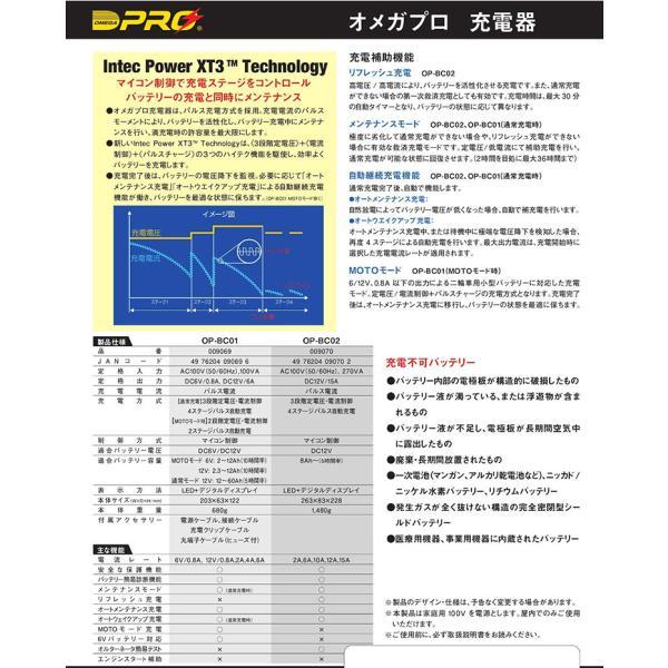 オメガプロ OP-BC01 バッテリー充電器 DC6/12V マイコン制御 全自動パルス充電器 バッテリーチャージャー アイドリングストップ車 ハイブリッド車 対応|amcom|08