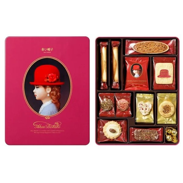 赤い帽子 ピンク 279g クッキー詰合せギフト 缶入り チボリーナ 卸価格 お歳暮・お中元・ギフト