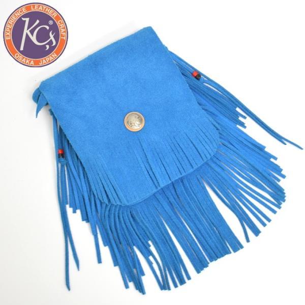 KC,s ケイシイズ メディスンバッグ フリンジ スウェード 牛革 KSM507 ブルー色