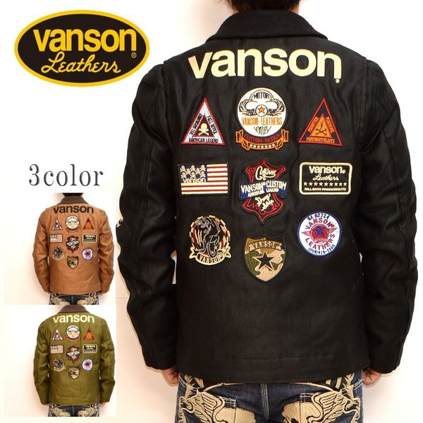 バンソン VANSON NVJK-706 N-1 デッキジャケット ブラック色 ワッペン 刺繍 バイカー アメカジ