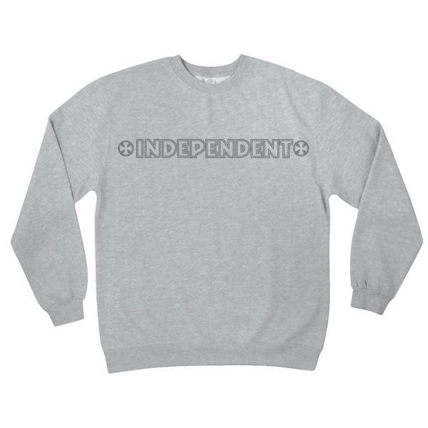 INDEPENDENT / インデペンデント BAR/STITCH CREW NECK L/S SWEAT クルー スウェット トレーナー GREY HEATHER グレイヘザー|americanrushstore