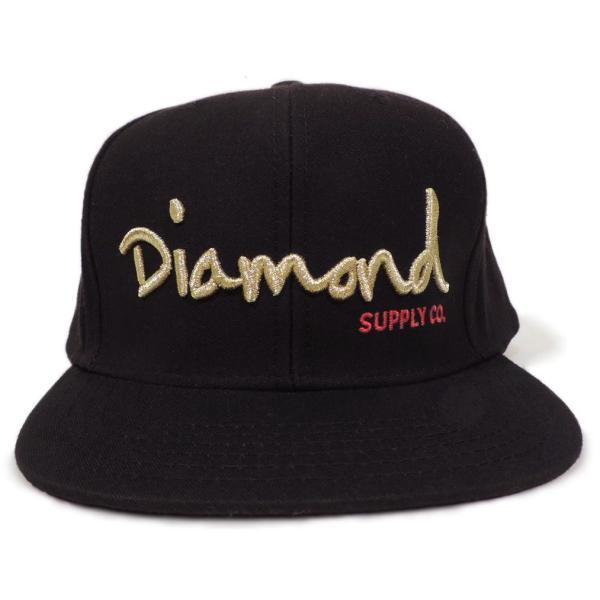 DIAMOND SUPLY CO. / ダイアモンド サプライ OG SCRIPT SNAPBACK CAP スナップバック キャップ BLACK/GOLD ブラック/ゴールド americanrushstore