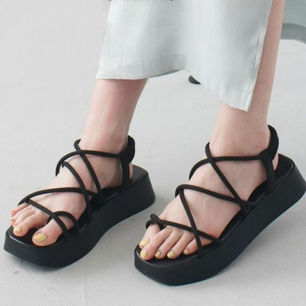 厚底コードストラップトングサンダルスクエアトゥレディース歩きやすい履きやすいアミアミ