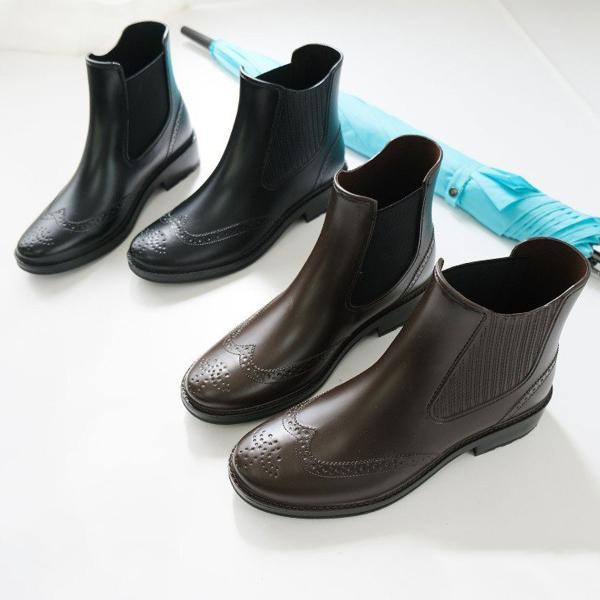 レインブーツレディースウイングチップサイドゴアショートブーツ長靴黒ブラックダークブラウン23.023.524.024.5雨晴れ兼