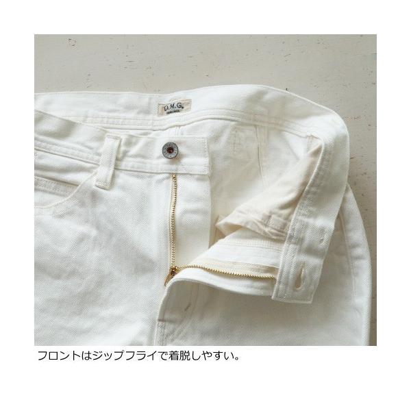 D.M.G セミワイド パンツ ホワイト コットン ドミンゴ 14-020B|amico-di-ineya|02
