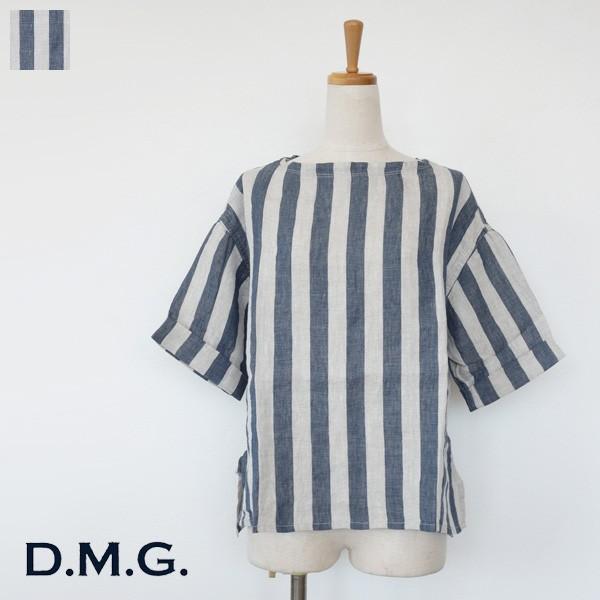 D.M.G DOMINGO ドミンゴ プレミアムリネン ストライプ 5分袖 プルオーバーシャツ 16-511L|amico-di-ineya