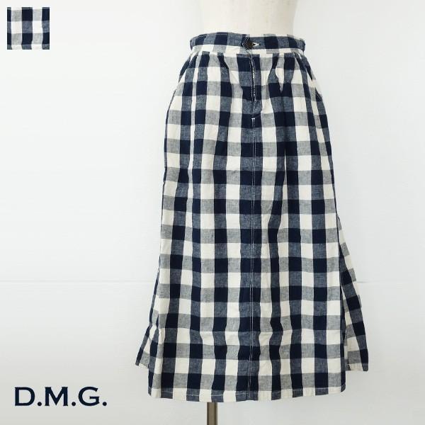 D.M.G イージータックスカート ギンガムチェック リネンコットン ドミンゴ 17-393X|amico-di-ineya