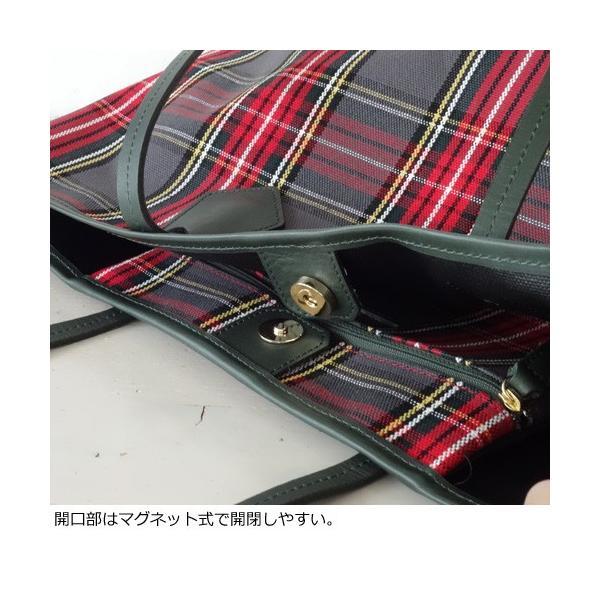 TOPKAPI トートバッグ タータンチェック柄 キャンバス レザー [Lサイズ] トプカピ 503-06-11007|amico-di-ineya|04