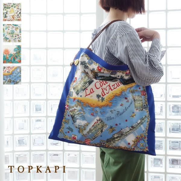 TOPKAPI (トプカピ) スカーフパネル柄 マイルドサテン A4 トートバッグ [Lサイズ] 503-06-81006|amico-di-ineya