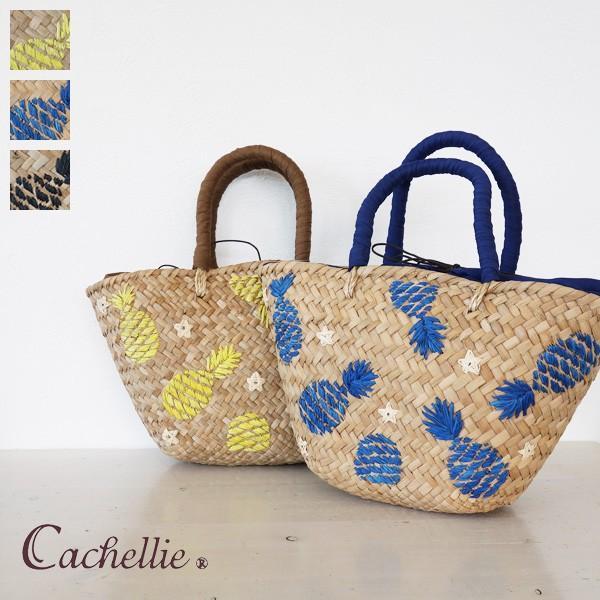 Cachellie カシェリエ かごバッグ パイナップル 刺繍 バンカン トートバッグ 54-4302|amico-di-ineya