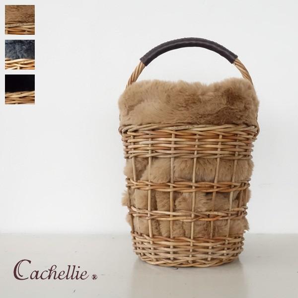 Cachellie かごバッグ エコファー巾着付き バケツ型 アラログ|amico-di-ineya