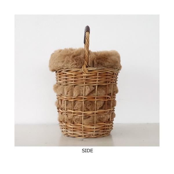 Cachellie かごバッグ エコファー巾着付き バケツ型 アラログ|amico-di-ineya|07
