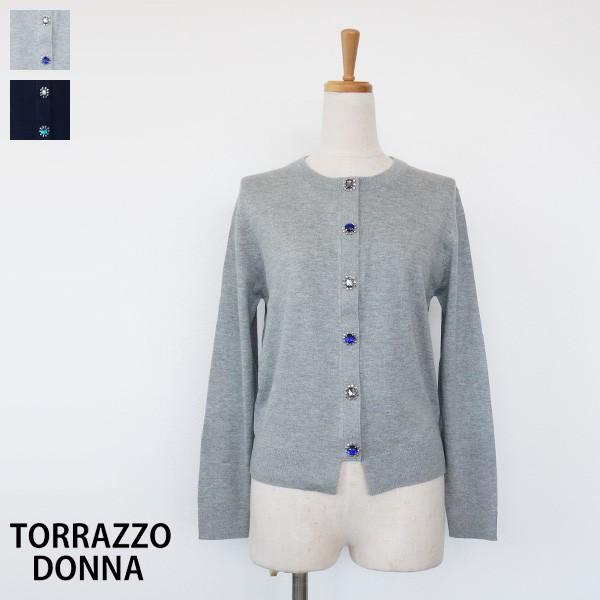 TORRAZZO DONNA カーディガン ビジューボタン クルーネック 長袖 トラッゾドンナ 75-6820|amico-di-ineya