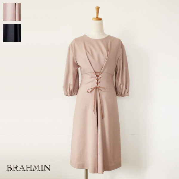 BRAHMIN ブラーミン レースアップ バルーンスリーブ ウール ワンピース B63603|amico-di-ineya