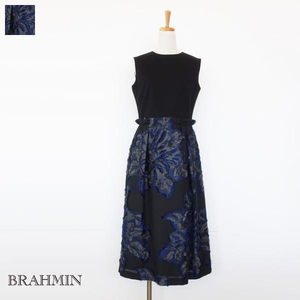 BRAHMIN ワンピース ノースリーブ 異素材切替 フラワー ジャカード ブラーミン B64403 amico-di-ineya