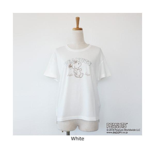 BRAHMIN Tシャツ スヌーピー コラボ PEANUTS コットン リヨセル サイドスリット ブラーミン B84401|amico-di-ineya|07