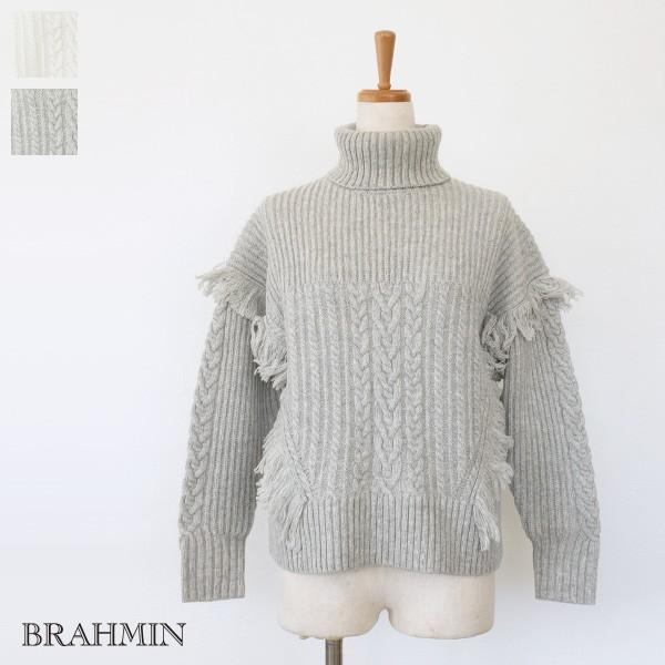 [SALE] BRAHMIN セーター ニット プルオーバー タートルネック ケーブル編み フリンジ ブラーミン B94607 20%OFF 返品不可 amico-di-ineya