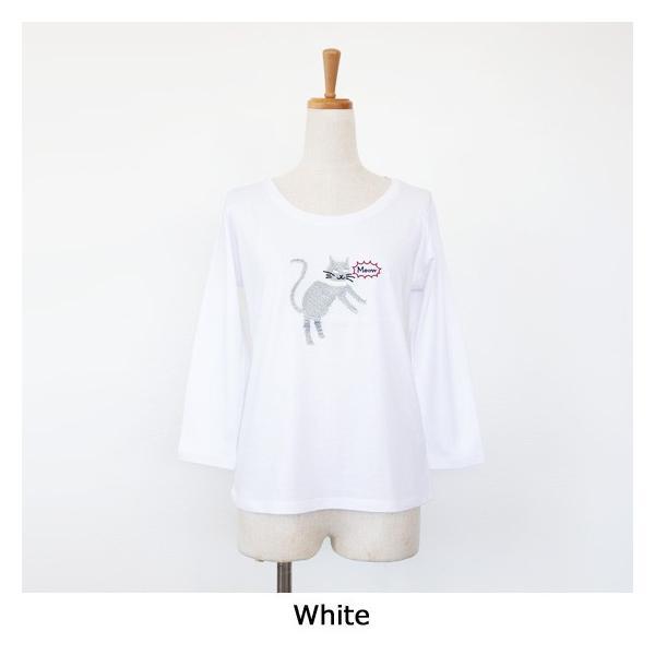 BEATRICE (ベアトリス) Tシャツ 7分袖 猫 ビジュー コットン クルーネック E83407|amico-di-ineya|07