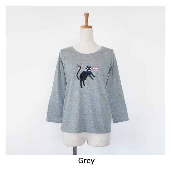 BEATRICE (ベアトリス) Tシャツ 7分袖 猫 ビジュー コットン クルーネック E83407|amico-di-ineya|08