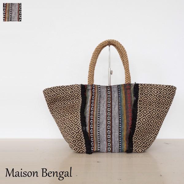 MAISON BENGAL トートバッグ エスニック フリンジ メゾンベンガル JLB-102BS|amico-di-ineya