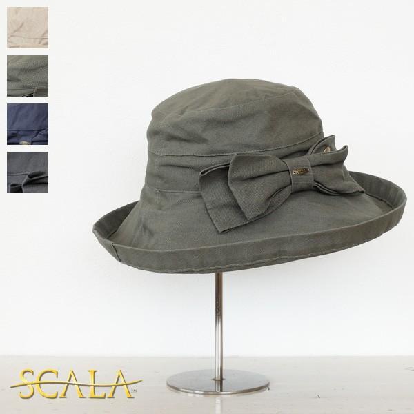 SCALA (スカラ) UVカット リボン付き コットン ハット(つば広)HKLC399-BOW|amico-di-ineya