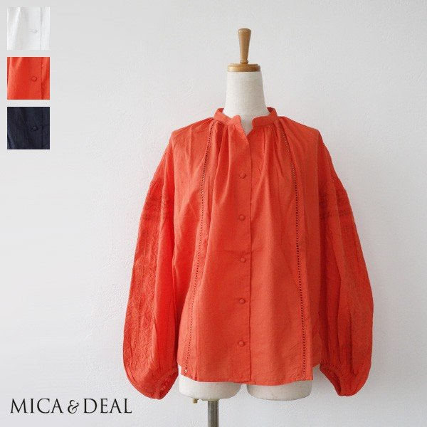 [SALE] MICA&DEAL ブラウス ボリュームスリーブ 刺繍 コットン マイカアンドディール M18B079 30%OFF 返品不可|amico-di-ineya