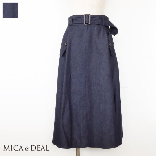 MICA&DEAL スカート デニム フレアシルエット ベルト マイカアンドディール M8C156|amico-di-ineya