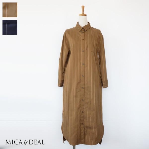 MICA&DEAL シャツワンピース ストライプ ロング ストレッチ マイカアンドディール M18C172|amico-di-ineya