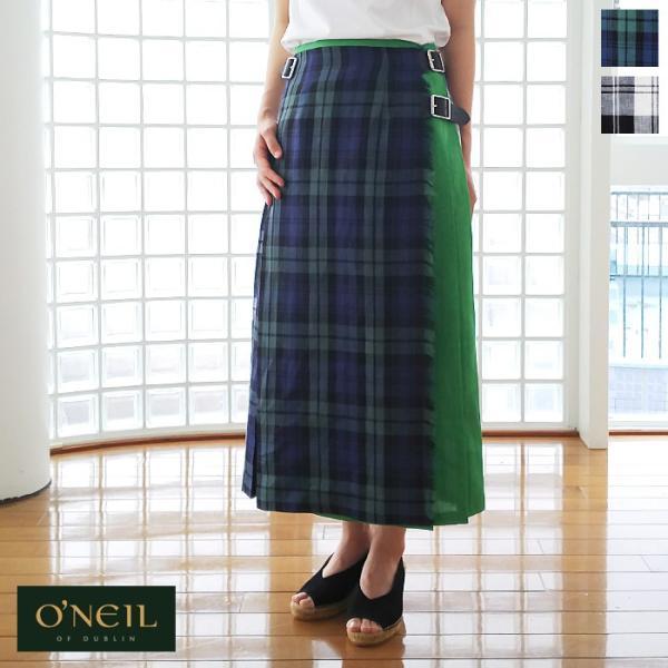 O'NEIL OF DUBLIN (オニールオブダブリン) リネン プリーツラップ スカート COMBINATION LONG KILT T12481|amico-di-ineya