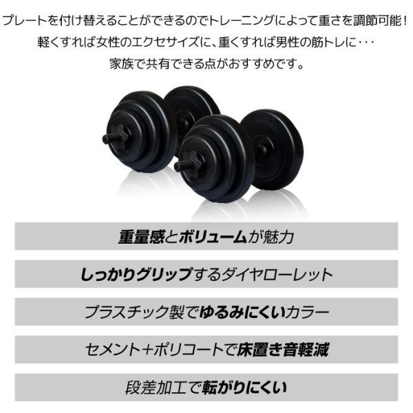 ダンベル ダンベル 10kg 2個セット [計 20kg] フラットベンチ トレーニング 他ダンベル多数用意してあります。|amj|03