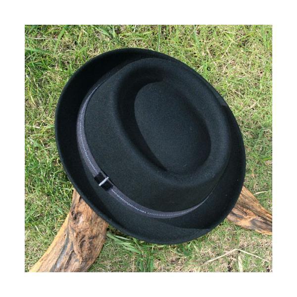 フェルトハット 中折れ帽子 ロックンロール ブラック|ammax|02