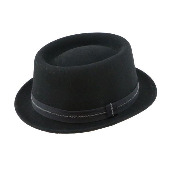 フェルトハット 中折れ帽子 ロックンロール ブラック|ammax|06