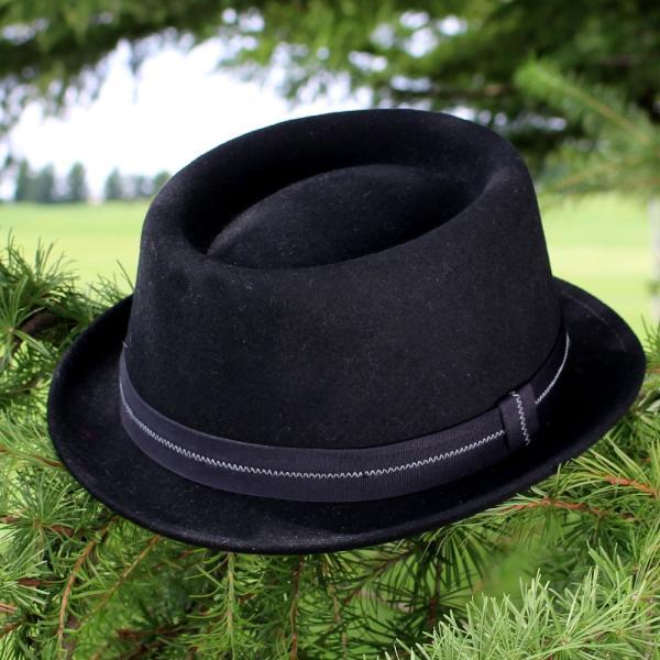 フェルトハット 中折れ帽子 ロックンロール ブラック|ammax|07