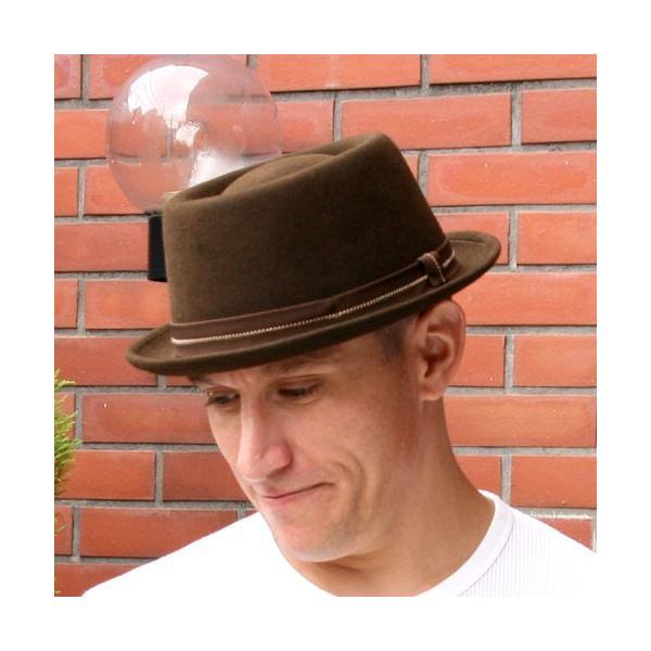 フェルトハット 中折れ帽子 ロックンロール ブラウン|ammax