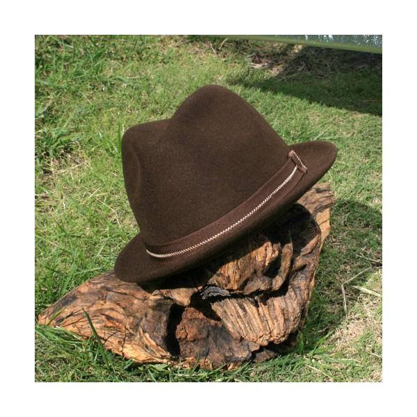 フェルトハット 中折れ帽子 ロックンロール ブラウン|ammax|04