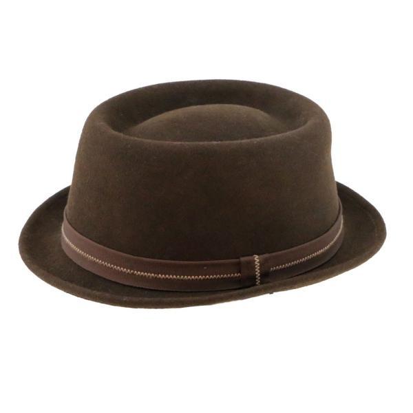 フェルトハット 中折れ帽子 ロックンロール ブラウン|ammax|05