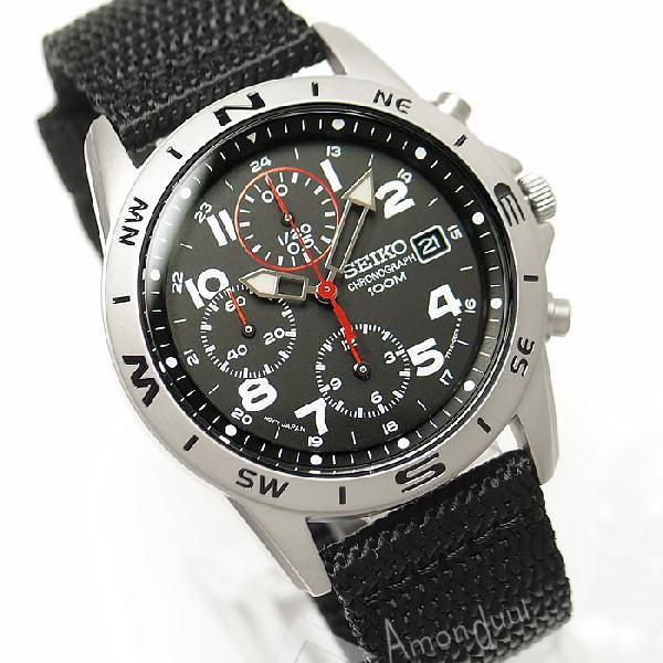 逆輸入セイコー 逆輸入SEIKO ミリタリー クロノグラフ腕時計|amonduul|03