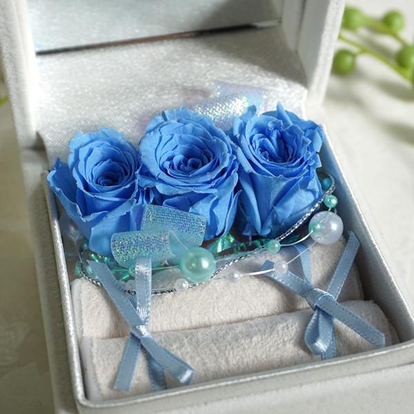 プリザーブドフラワー リングケース 「青いバラ」 プロポーズ 彼女 指輪入れ クリスマス プレゼント ギフト 贈り物|ampoule-shop|02
