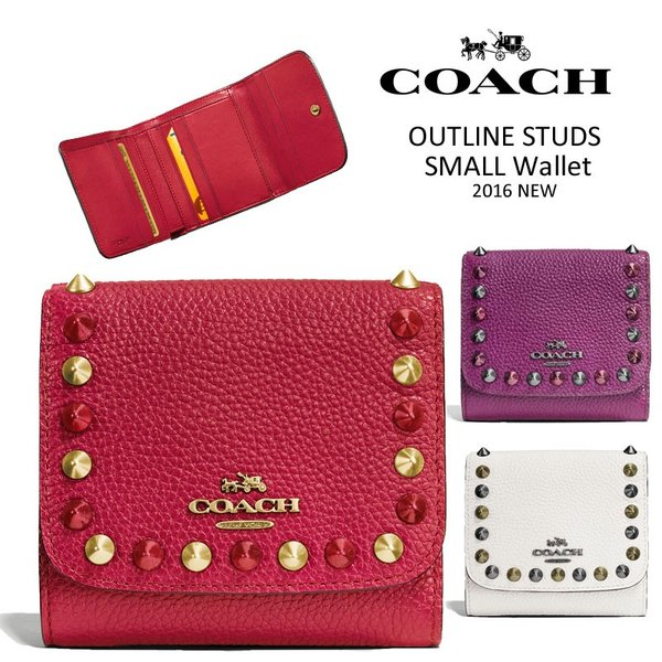 official photos fcf3e f38c1 COACH コーチ OUTLINE STUDS SMALL WALLET 財布 ミニ財布 三 ...