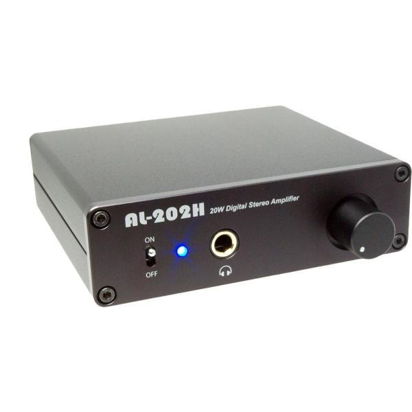 Amulech [AL-202H SE] 小型・薄型・高音質・Hi-Fi 20W+20W(4Ω)ステレオデジタル・パワーアンプ+ヘッドホンアンプ 本体+ACアダプター(12V 5A)セット品|amulech-store
