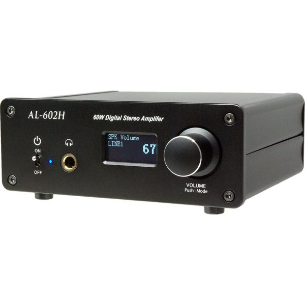 Amulech AL-602H 小型・高音質・Hi-Fi 60W+60W(4Ω)ステレオデジタル・パワーアンプ+ヘッドホンアンプ 電子ボリューム採用|amulech-store