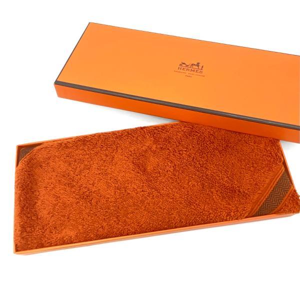 エルメス HERMES ハンドタオル カレタオル シェブロン オレンジ コットン100% H101341M 05 carre chevron orange cotton 32×32cm 新品