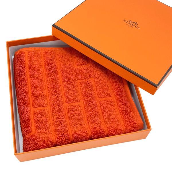 【新品】 エルメス HERMES ハンドタオル カレタオル ラビリンス コットン100% オレンジ オランジュ フー H102776M 02 ハンカチ 32×32cm 純正箱入り