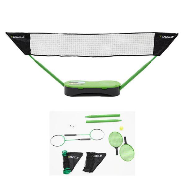 トップスピン(TOPSPIN) ツールズ(TOOLZ) ポータブル 2IN1 テニス/バドミントン セット グリーンxブラック (20y8m)