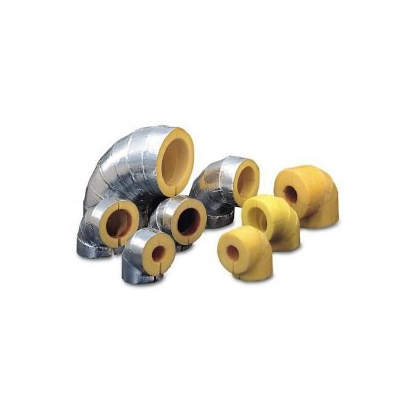 マグ断熱エルボ ショート ポリ貼りアルミクラフト紙(ALKP) 厚さ20mm 10個入り BEGSO8020ALKP(80A×20)